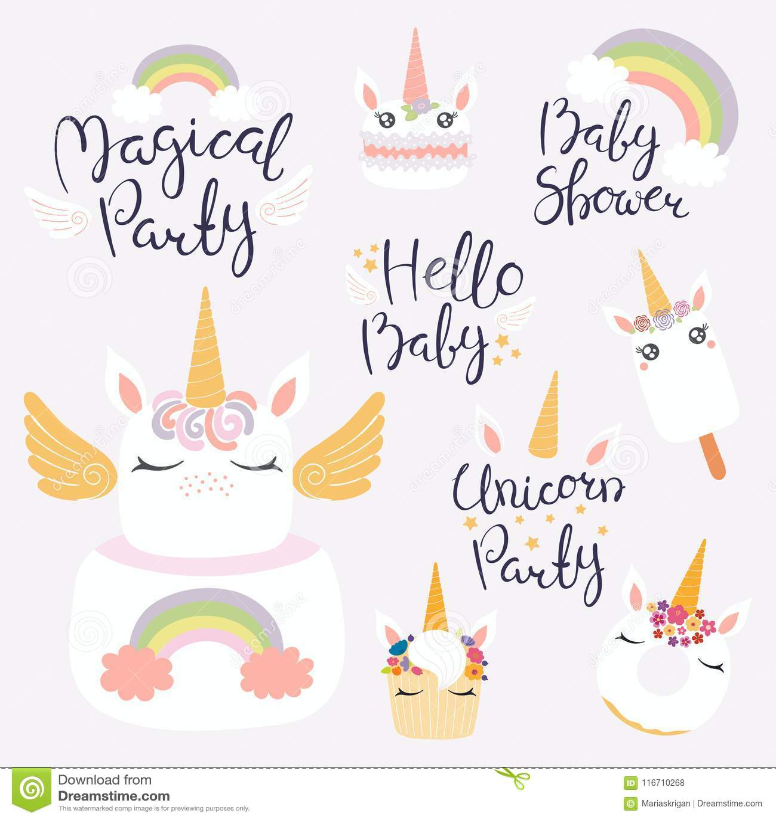 unicorn dessert set stock vector illustration of eyelashes