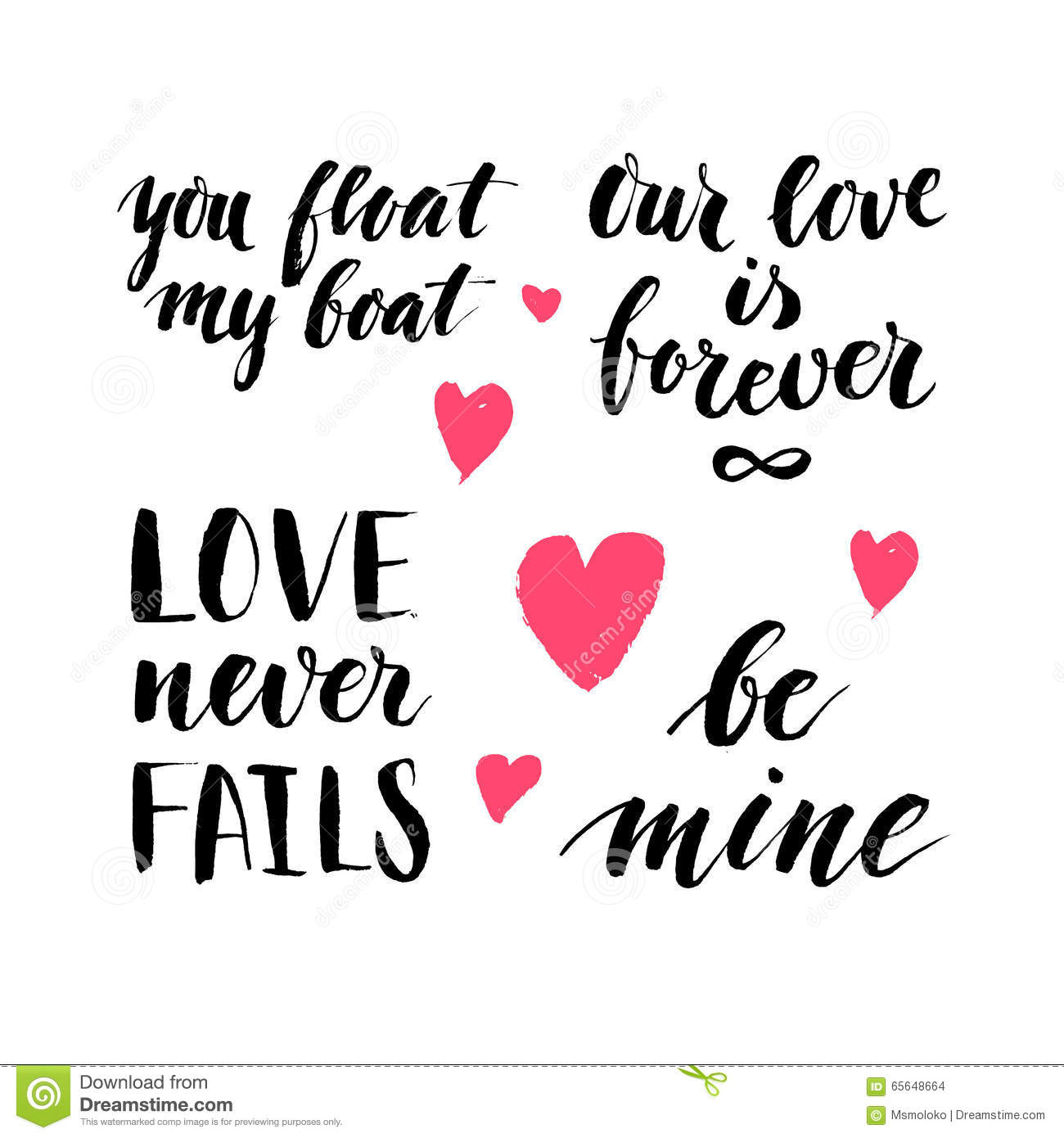 Set Of Hand Written Ink Quotes And Phrases About Love Witn Tiny – Phrases for Valentines Cards