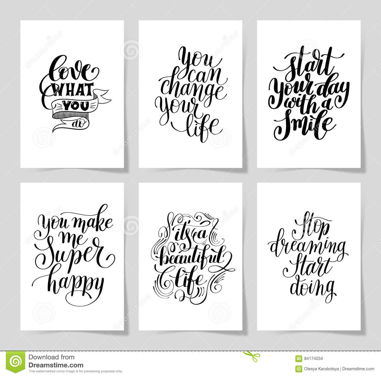 Set Of 6 Hand Written Lettering Positive Inspirational
