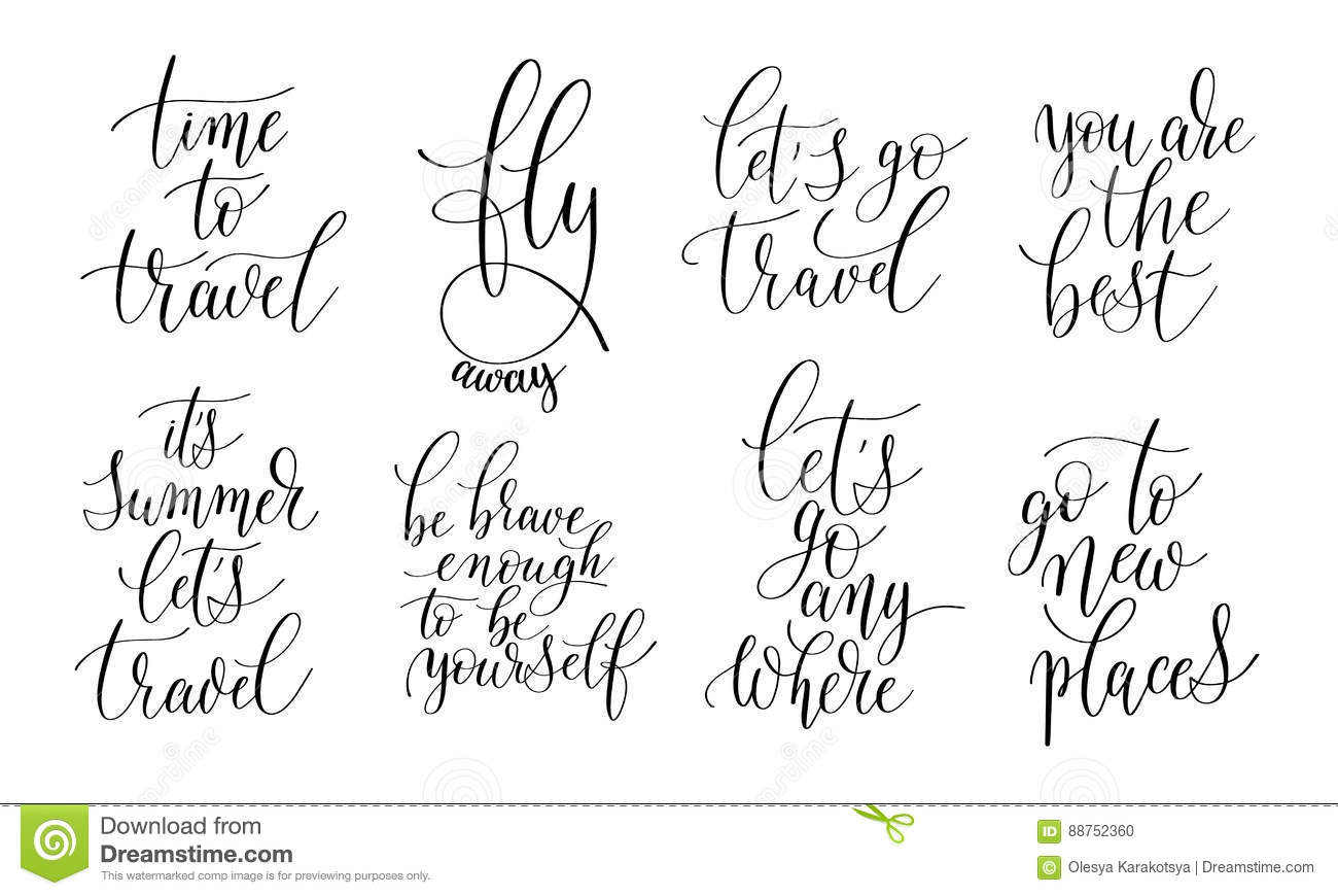 Positive Quotes Of Life Set Of 8 Hand Written Lettering Positive Quotes About Life Stock