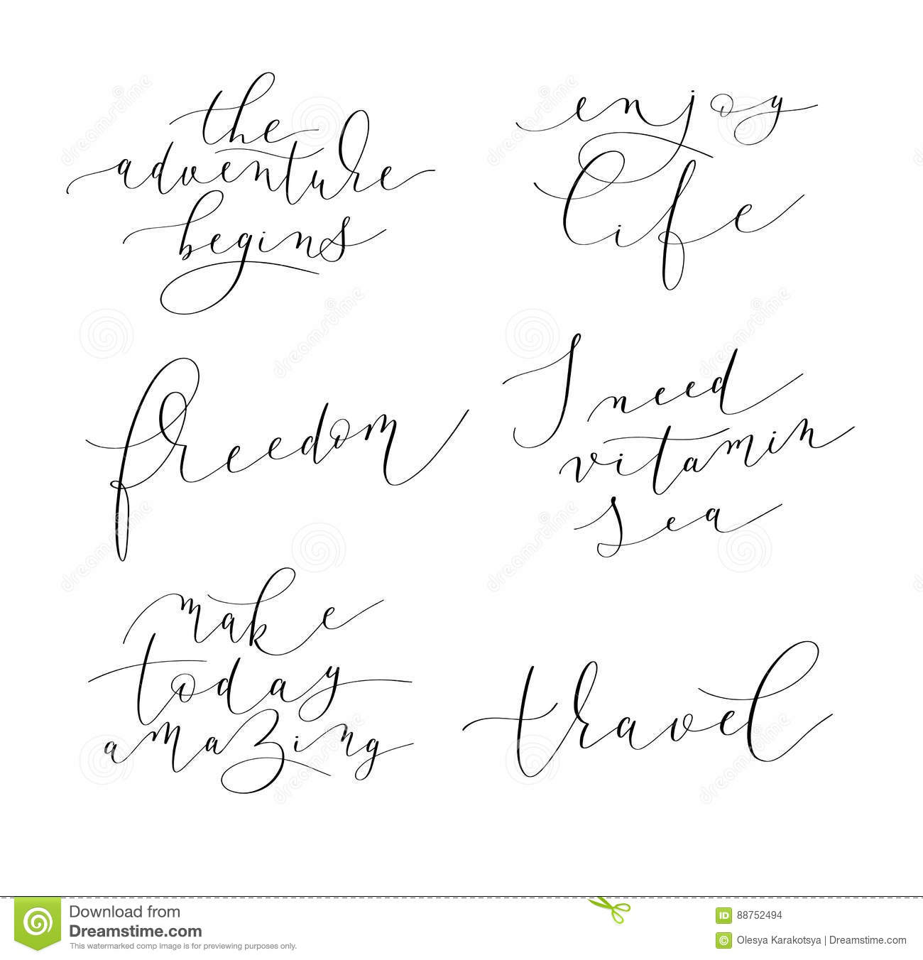 Positive Quotes On Life Set Of 6 Hand Written Lettering Positive Quotes About Life Stock