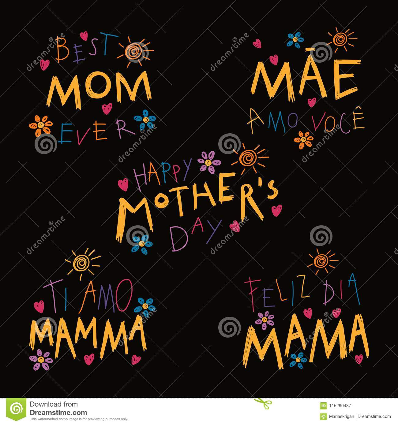 Set of Mothers Day quotes stock vector  Illustration of