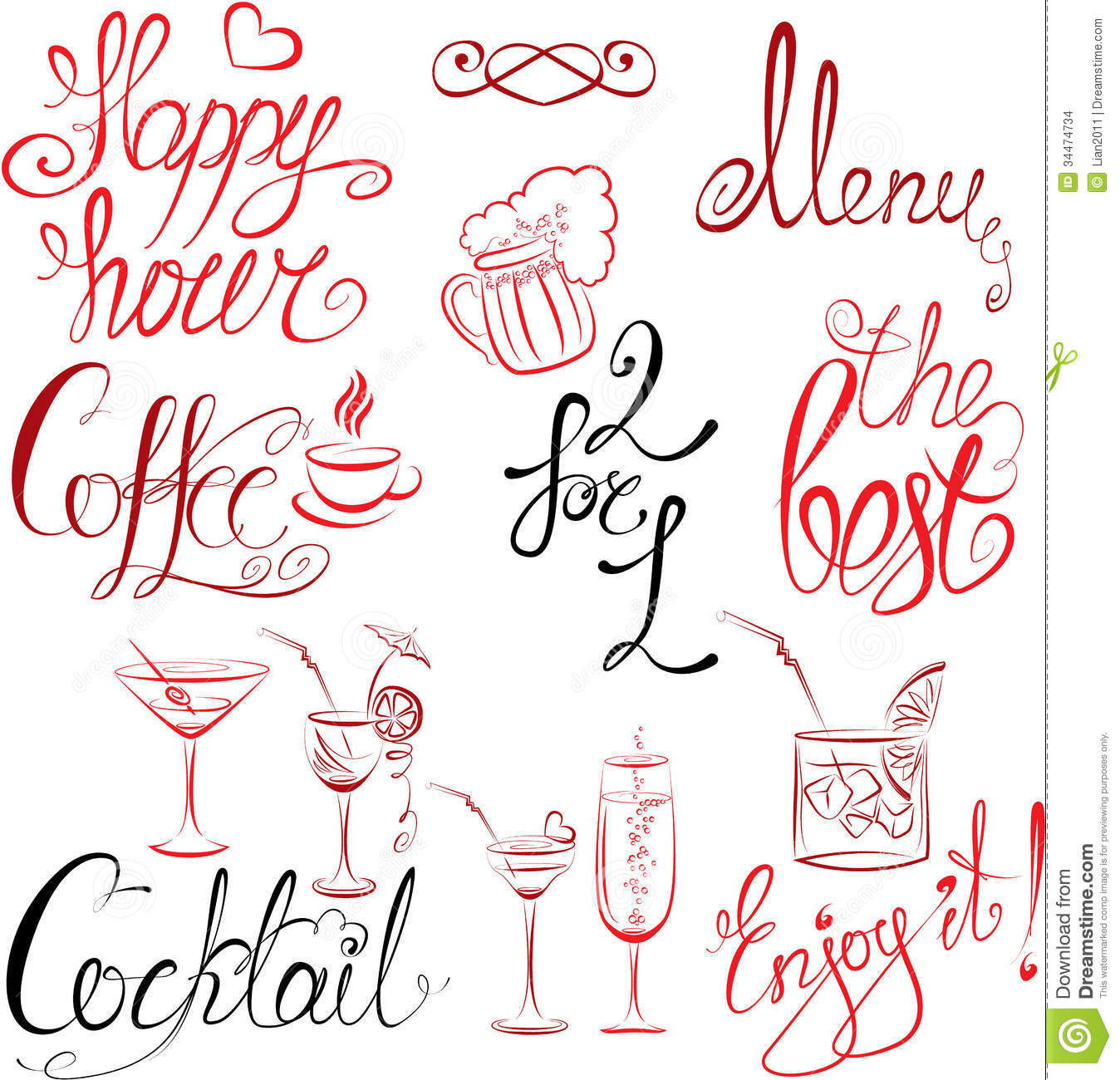 Set Of Hand Written Text Happy Hour Menu Coffee Stock