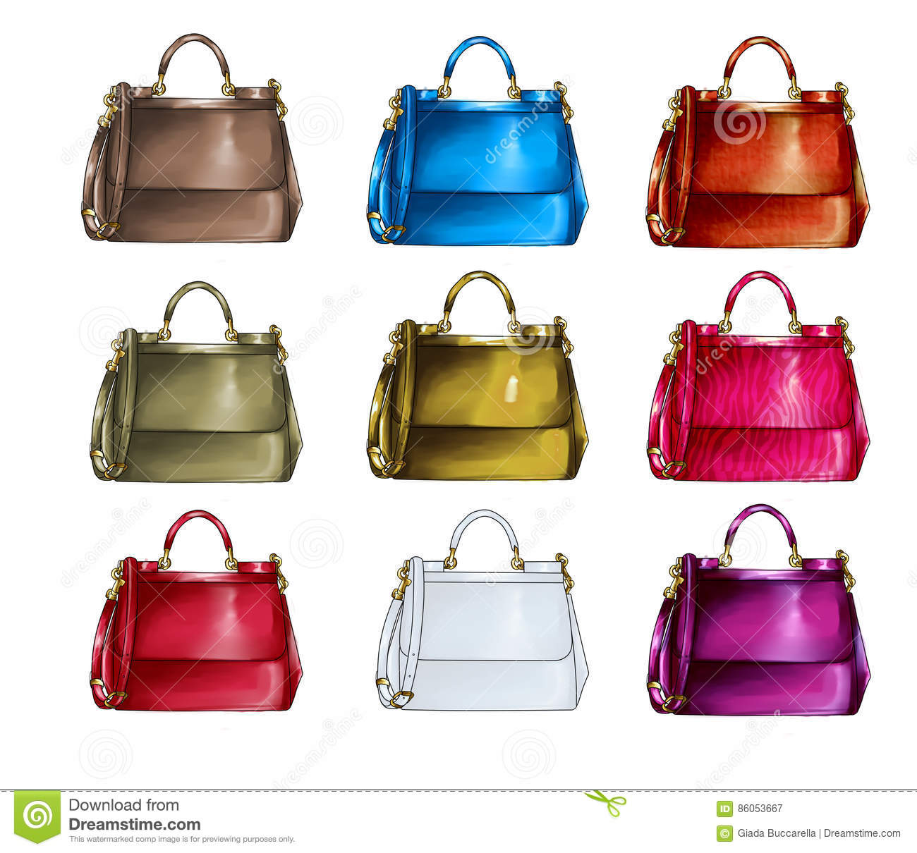 78ac7038 Set Of Handbags In Different Textures And Colors Stock Illustration ...