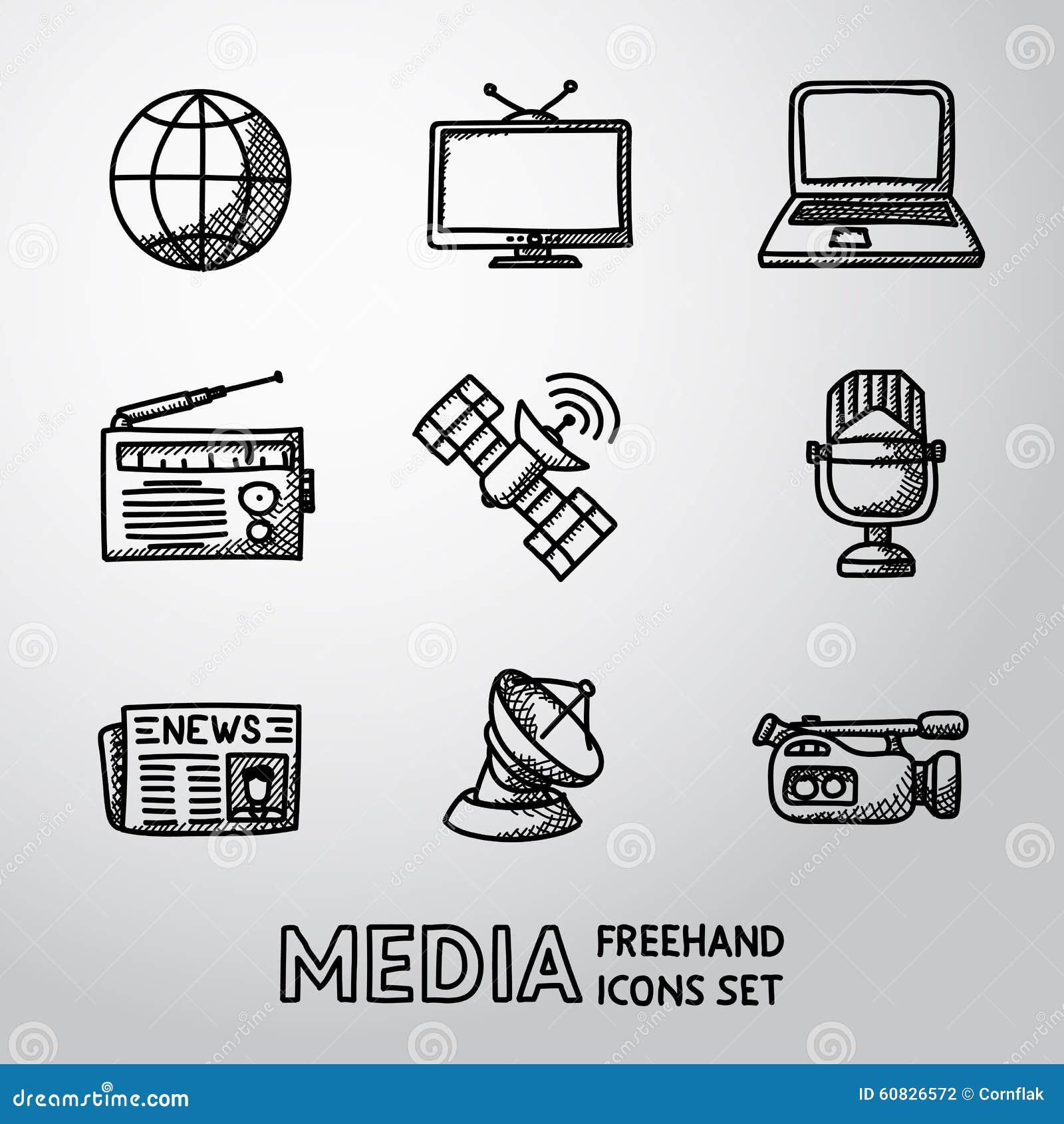 set of handdrawn media icons - news  radio  tv stock vector