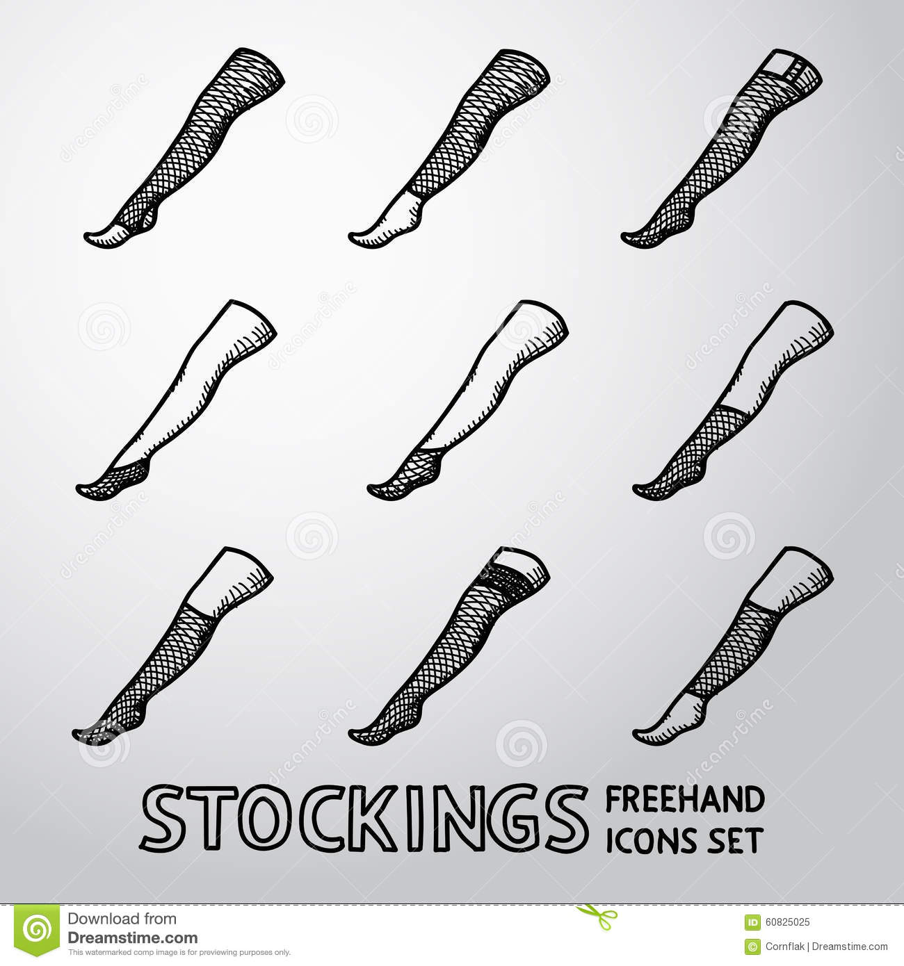 Set of handdrawn STOCKINGS icons with different