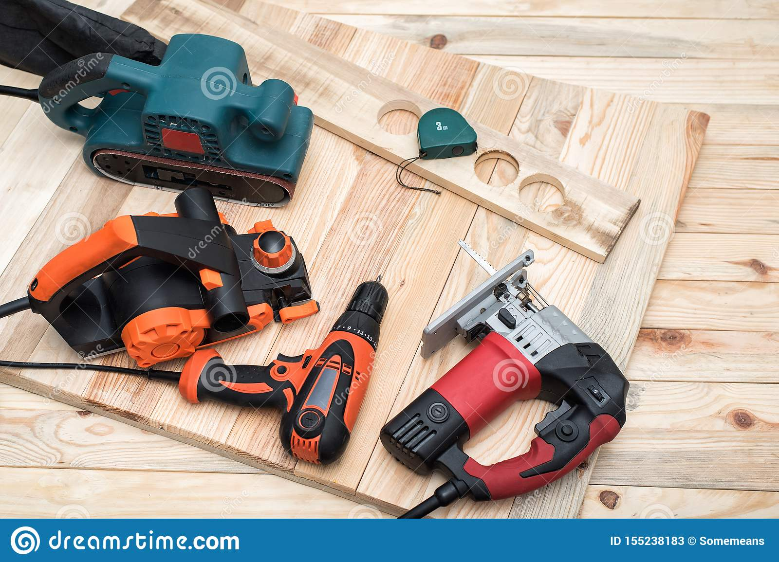 Set Of Handheld Woodworking Power Tools For Woodworking And