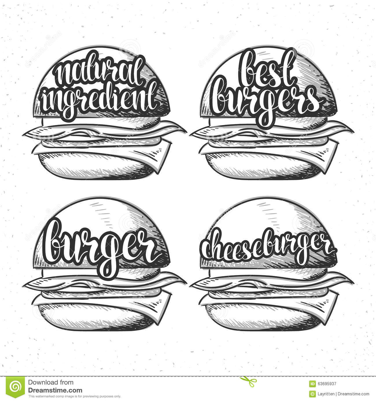 Set Handmade Burgers With Stylish Calligraphy Burger