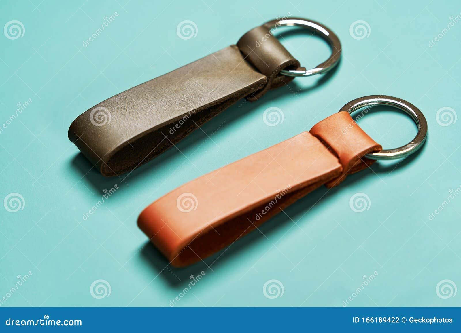 handmade blue key chain handmade leather accessories. leather key fob leather key ring Leather key chain