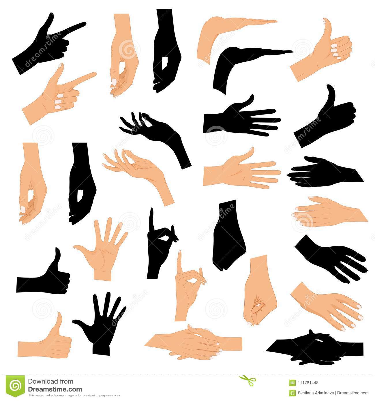 Set hands in different gestures with a black silhouette isolated on white background. Colored hand gesture set with