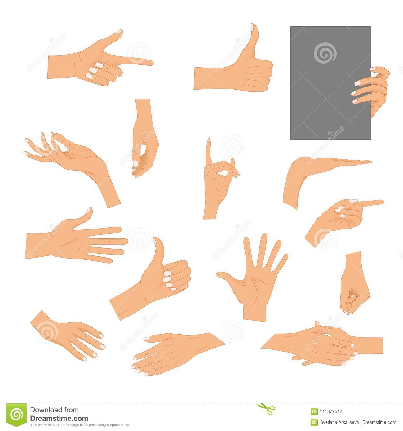 Set hands in different gestures isolated on white background. Colored hand gesture set with manicured nails and good