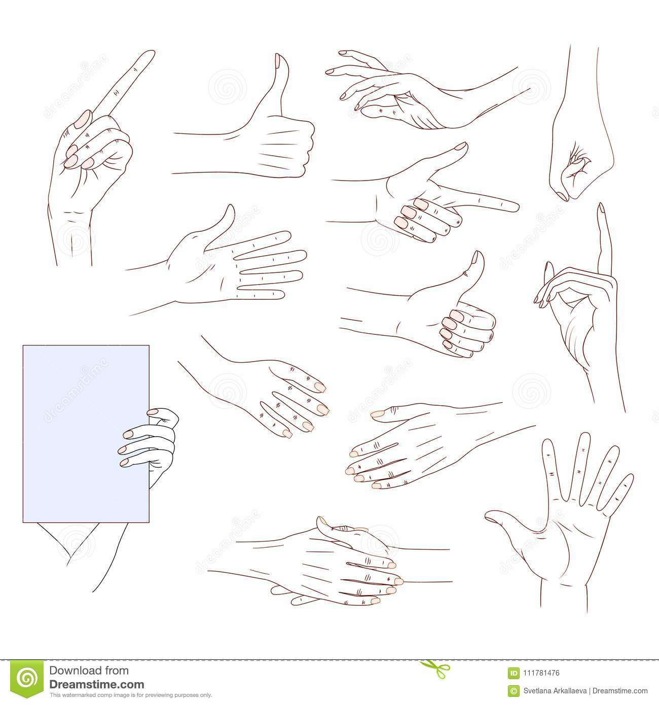 Set hands in different gestures isolated on white background. good skin vector line illustration. Collection emotions