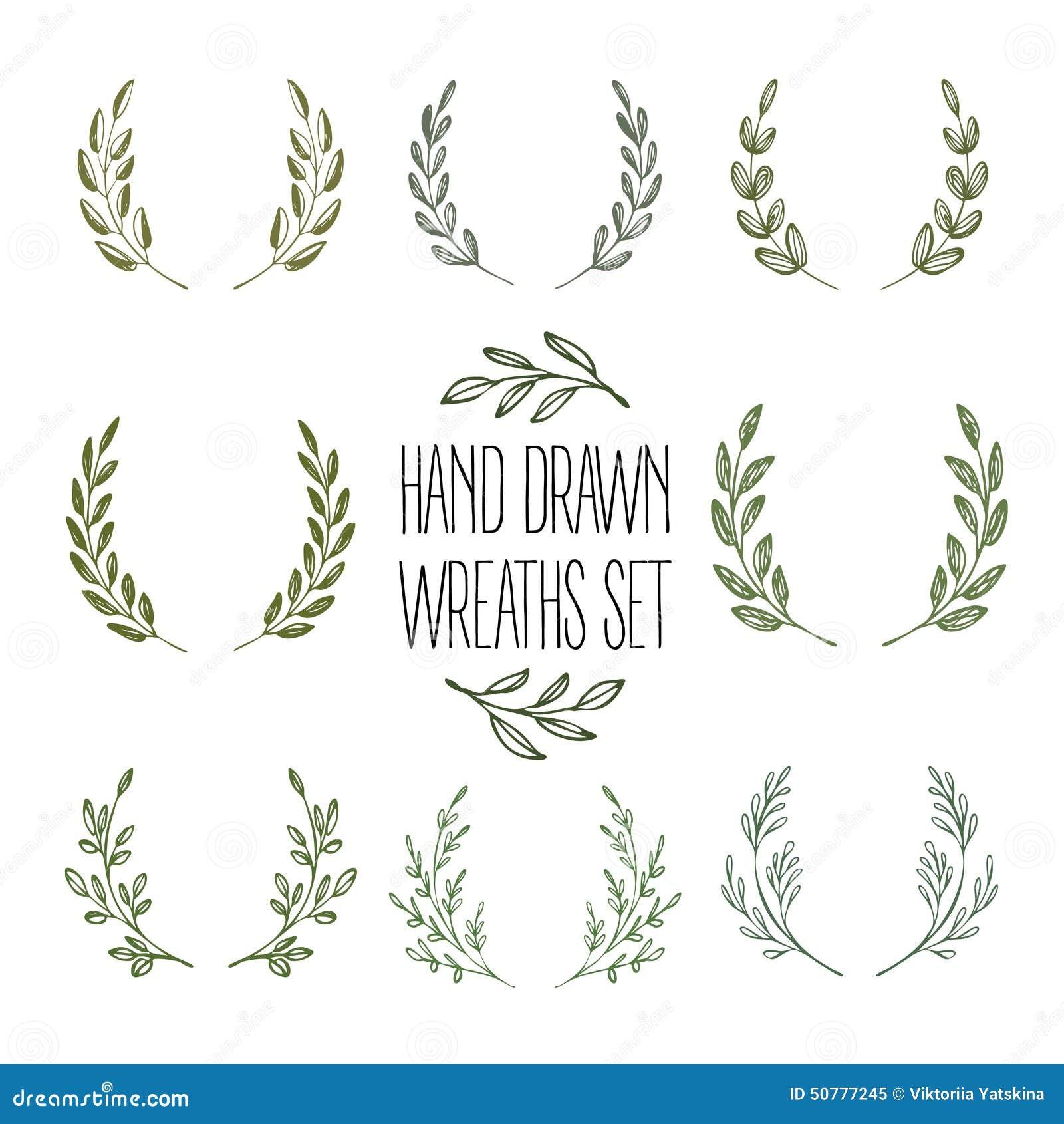 Set Of Hands Drawn Decorative Wreaths. Vector Stock Vector - Image ...