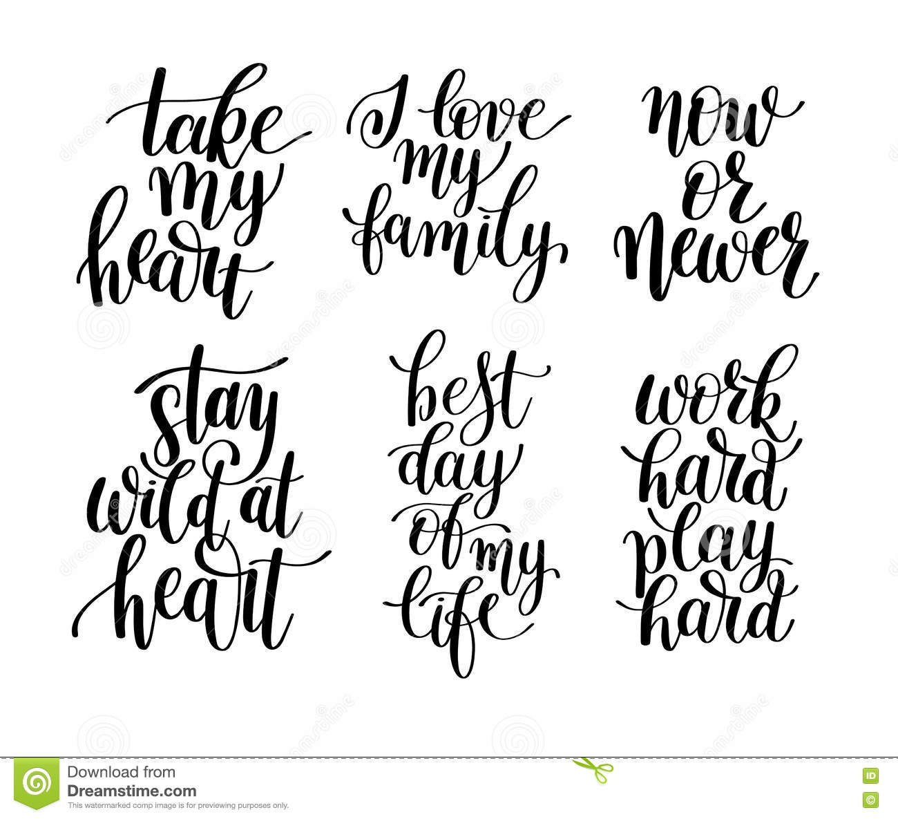 Positive Quotations About Life Set Of 6 Handwritten Lettering Positive Quotes About Life Stock