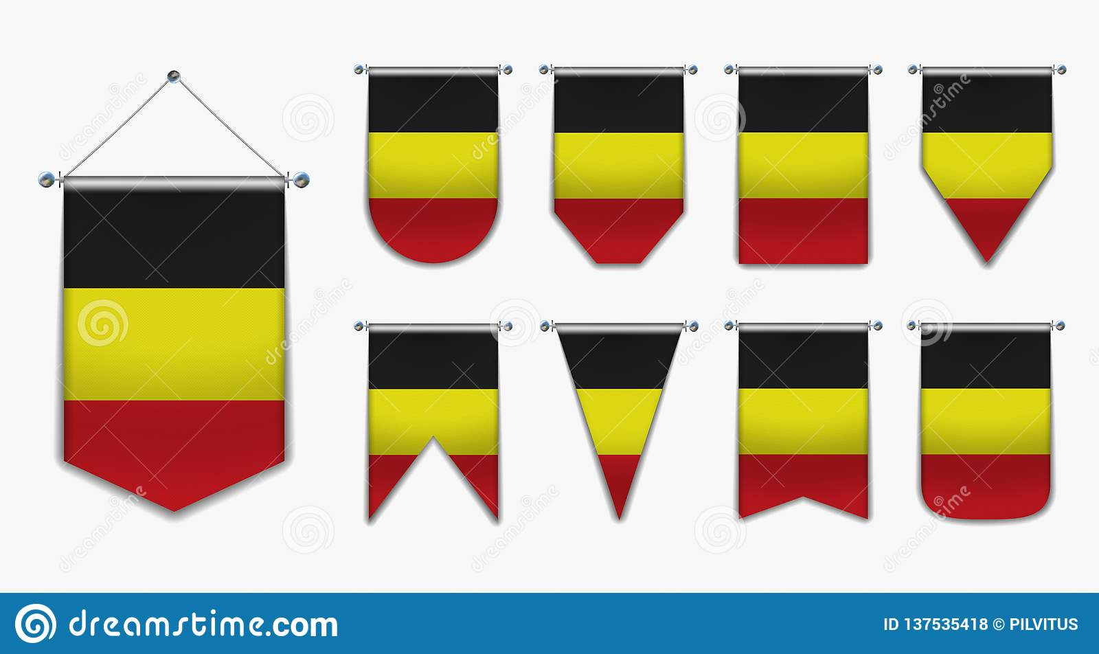 Collection hanging flags of the BELGIUM with textile texture. Diversity shapes of the flag country. Vertical Template Pennant