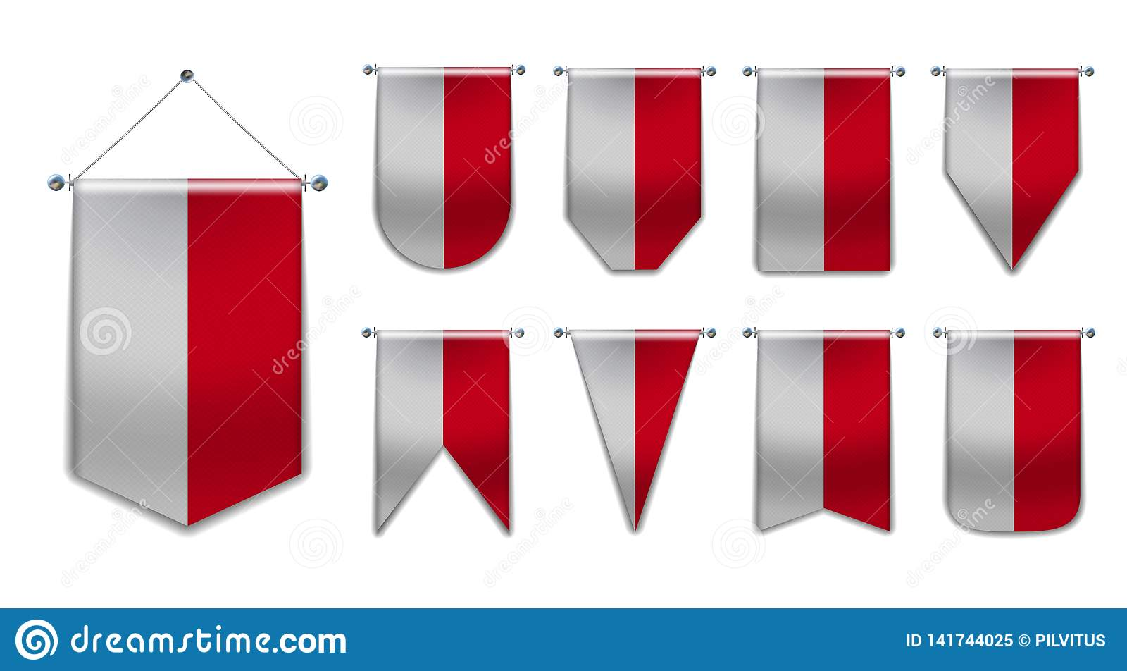 Set of hanging flags of the Monaco with textile texture. Diversity shapes of the national flag country. Vertical Template Pennant