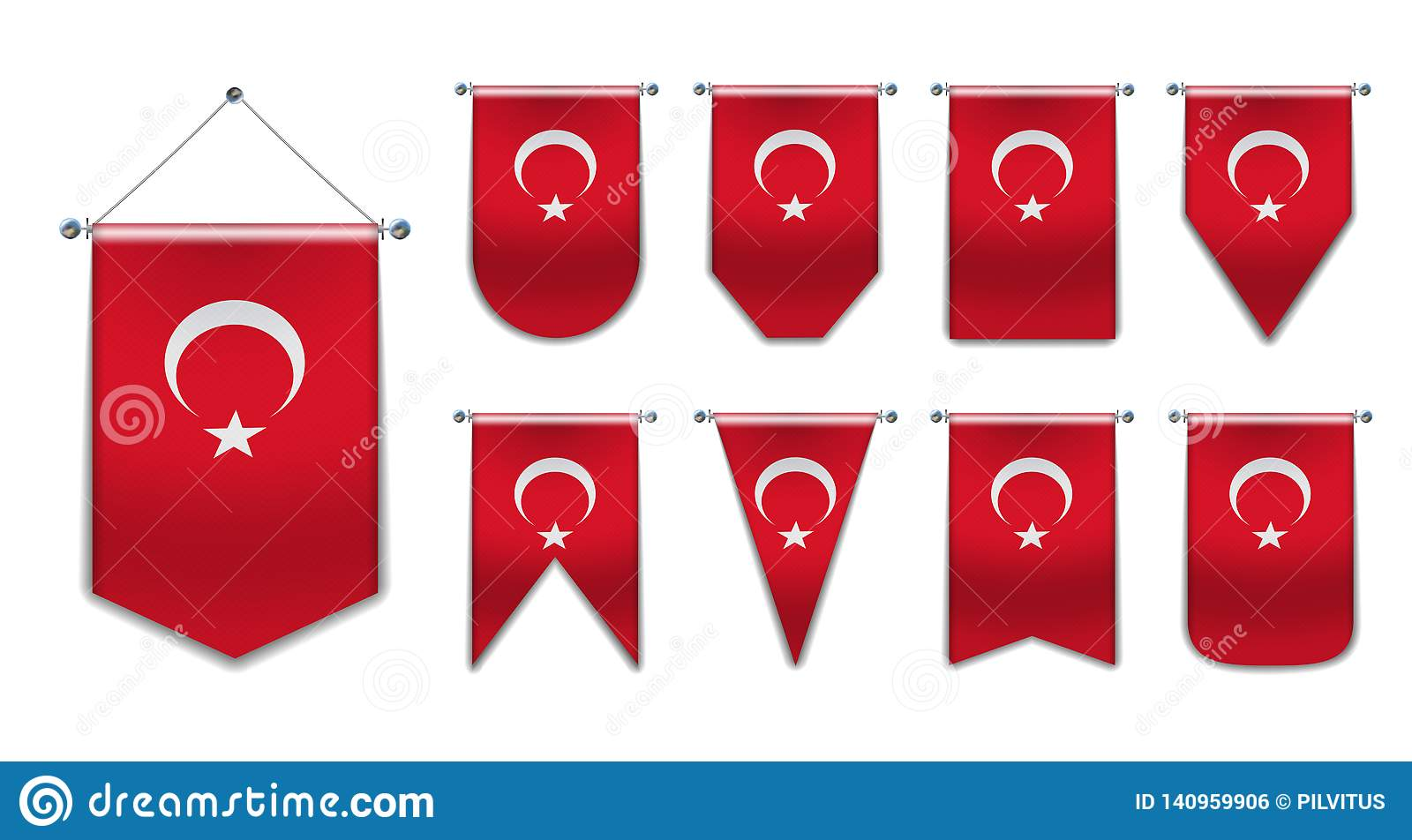 Set of hanging flags of the TURKEY with textile texture.Diversity shapes of the national flag country.Vertical Template Pennant