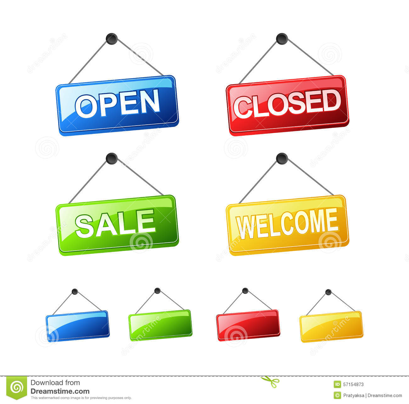 set of hanging signs open sign closed sign sale sign welcome sign cartoon vector. Black Bedroom Furniture Sets. Home Design Ideas