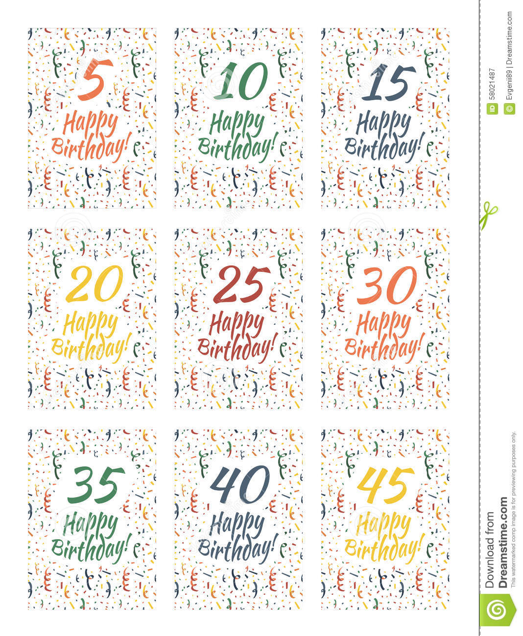 Set Of Happy Birthday Card Covers For Anniversary 5101520