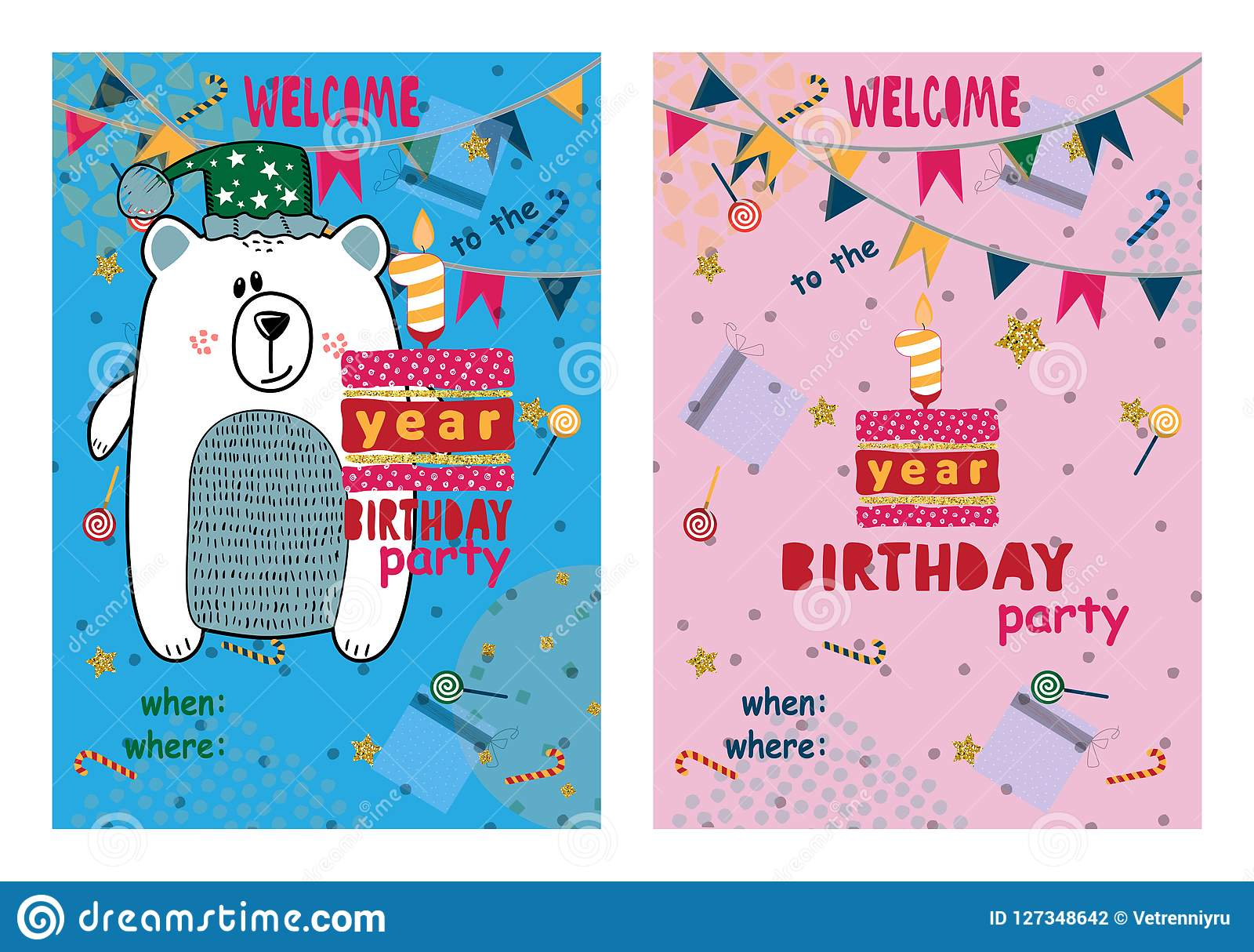 Set Of Happy Birthday Cards Design For One Year Old Baby Stock