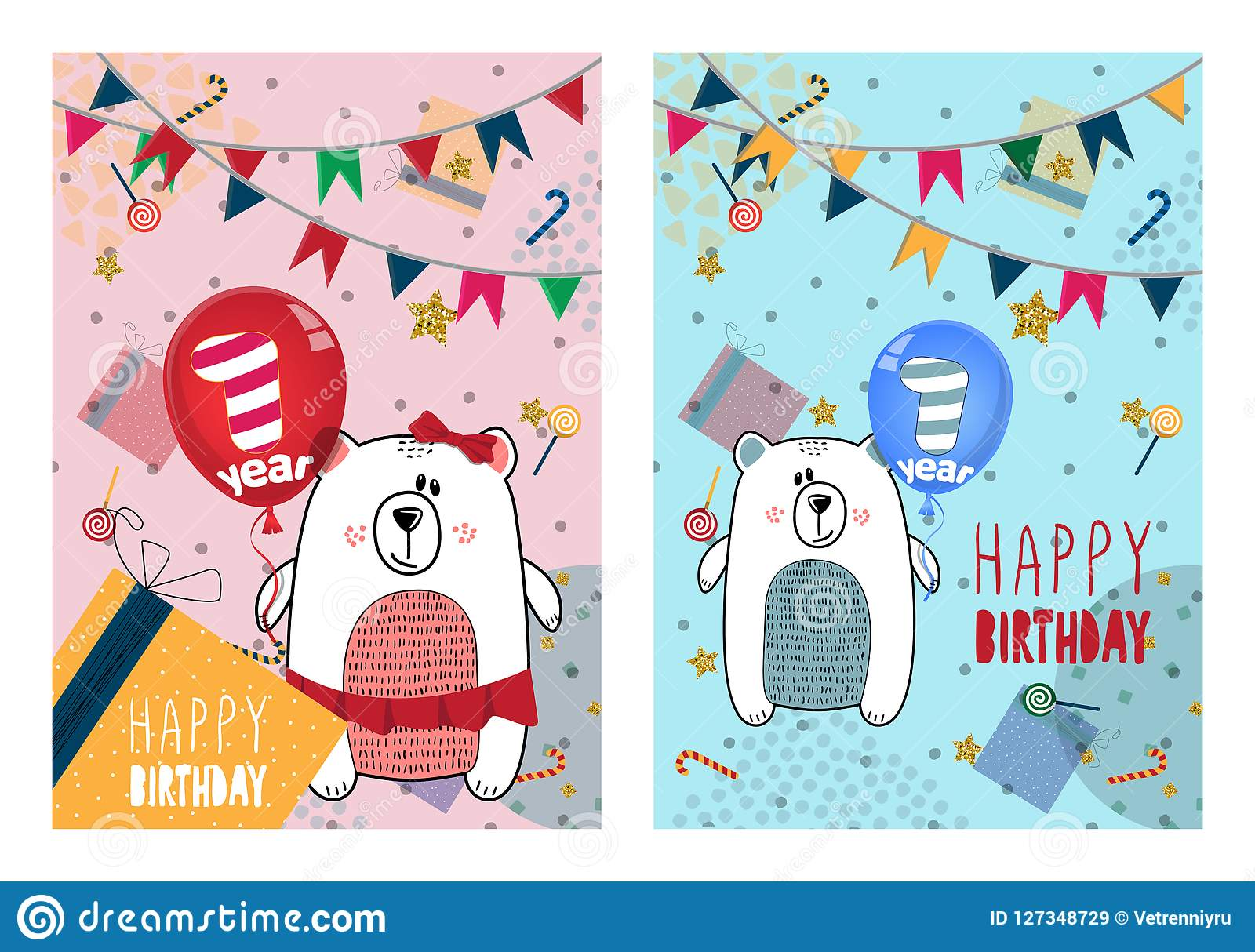 Set Of Happy Birthday Cards Design For One Year Old Baby