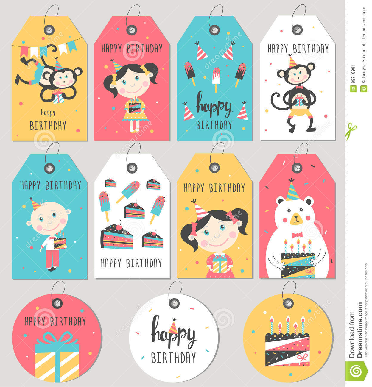 Set Of Happy Birthday Gift Tags And Cards
