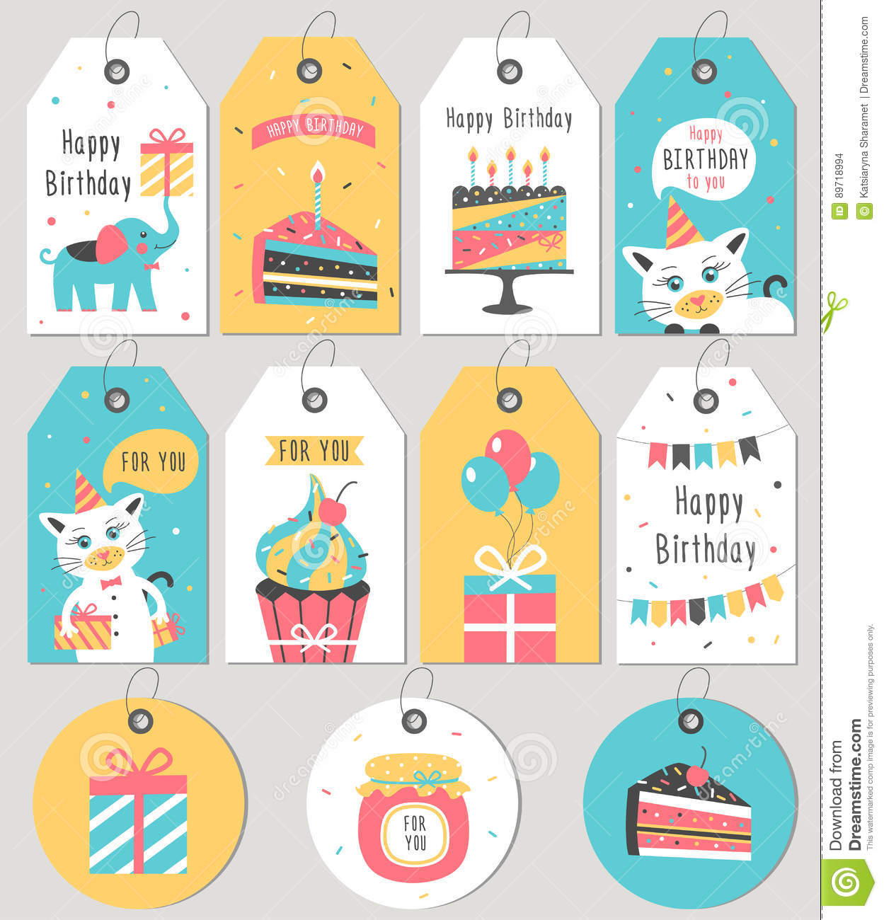 Set Of Happy Birthday Gift Tags And Cards Stock Illustration