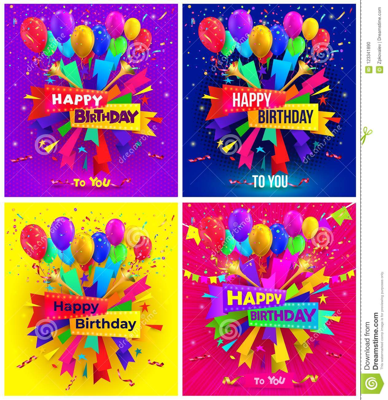 Set of Happy birthday typography design for greeting poster and cards with balloon, confetti and gift box, design template for bir