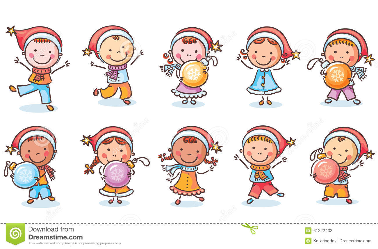 Set Of Happy Cartoon Kids In Santa Hats And With Christmas ...