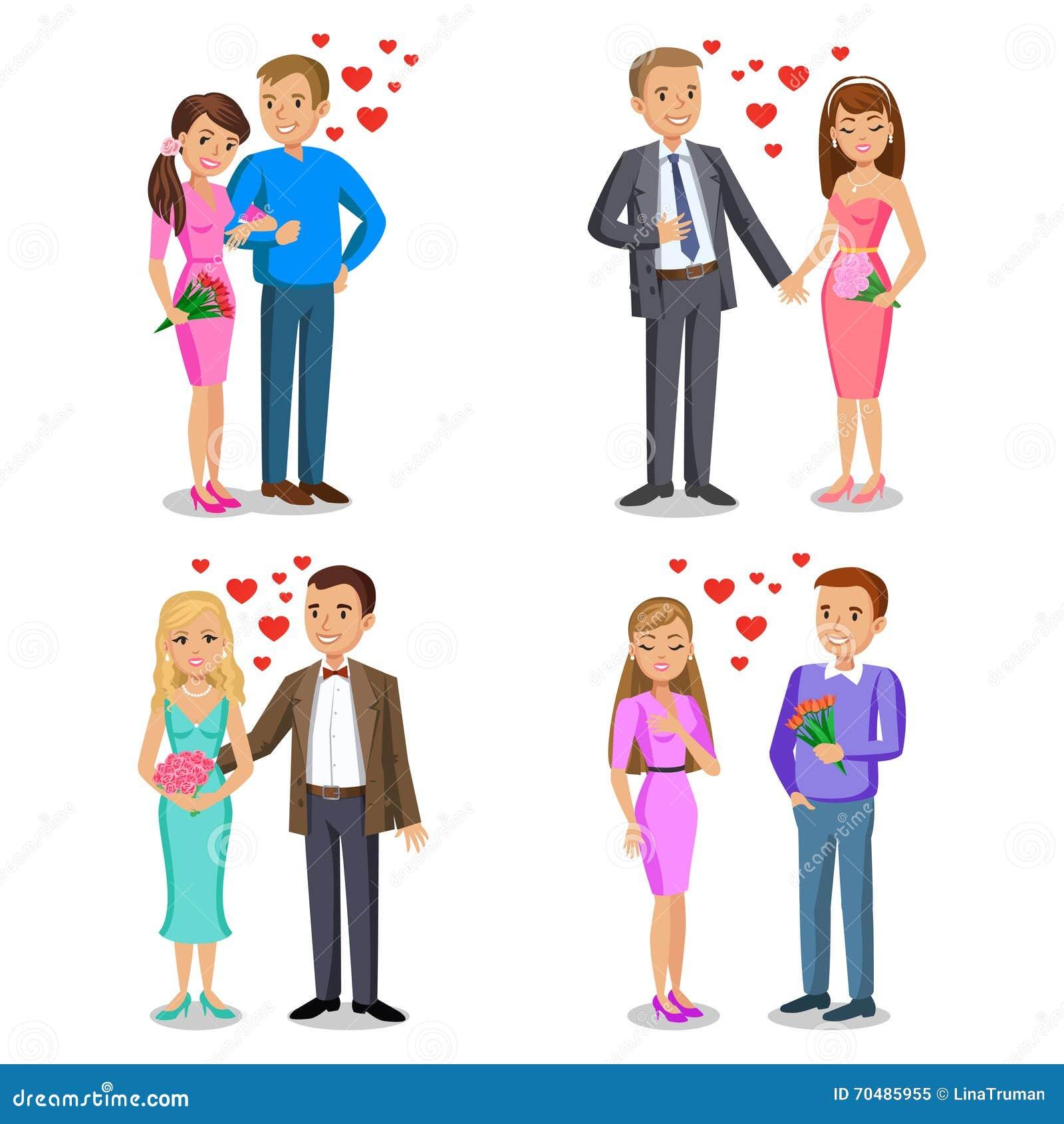 Set of Happy couples. Romantic couple, love, relationship