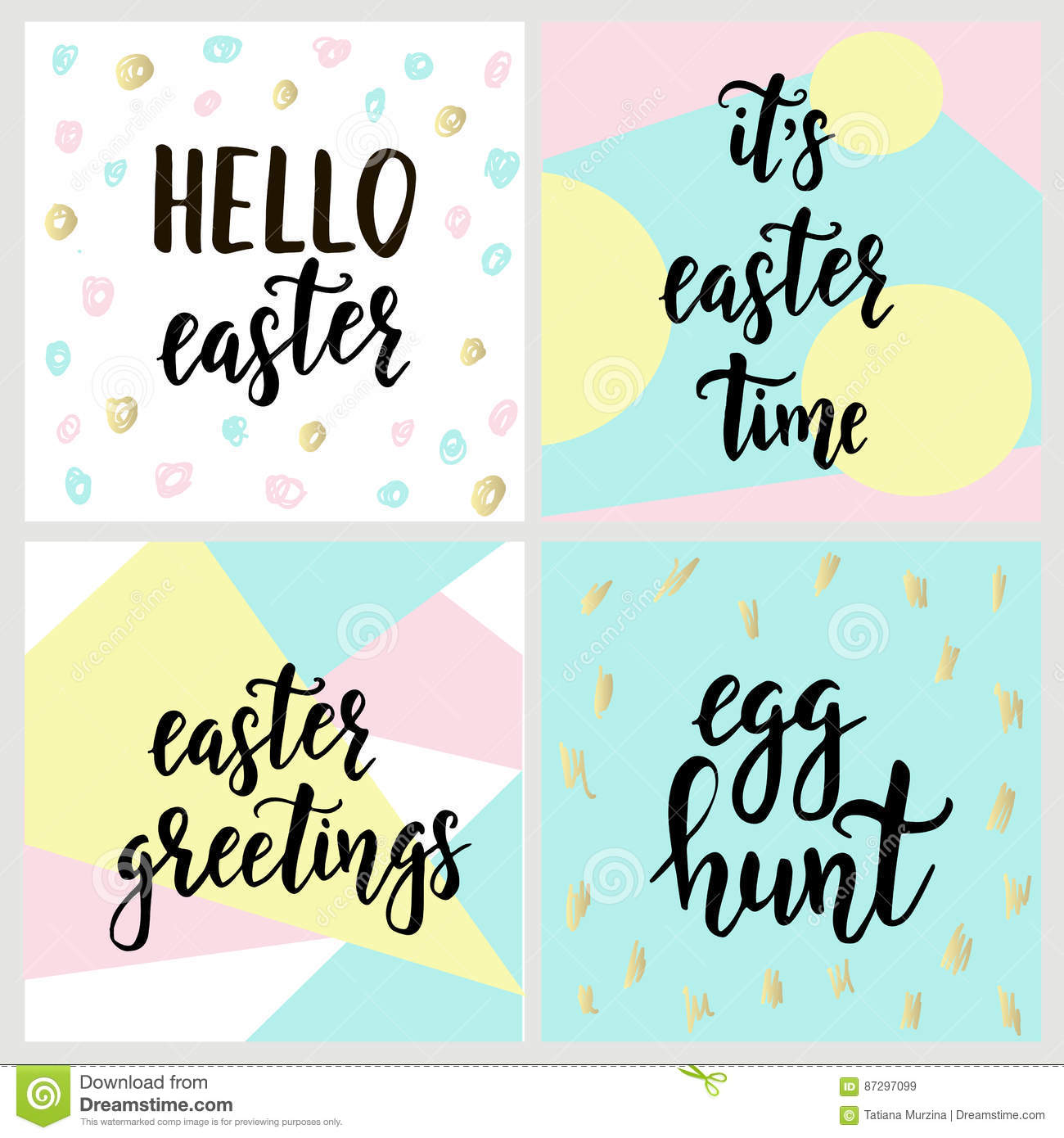 Set with happy easter gift cards with calligraphy handwritten royalty free vector download set with happy easter gift cards negle Choice Image