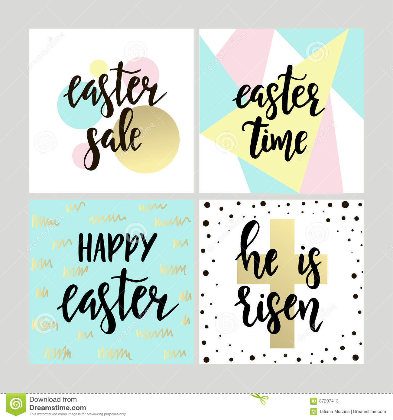 Set with happy easter gift cards with calligraphy handwritten set with happy easter gift cards with calligraphy handwritten lettering hand drawn design elements negle Images