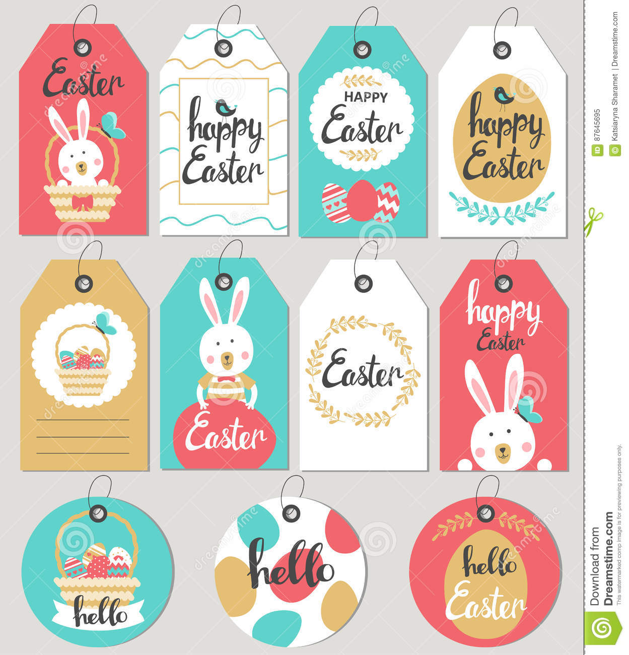 Set with happy easter gift tags and cards with easter bunny stock set with happy easter gift tags and cards with easter bunny negle Choice Image