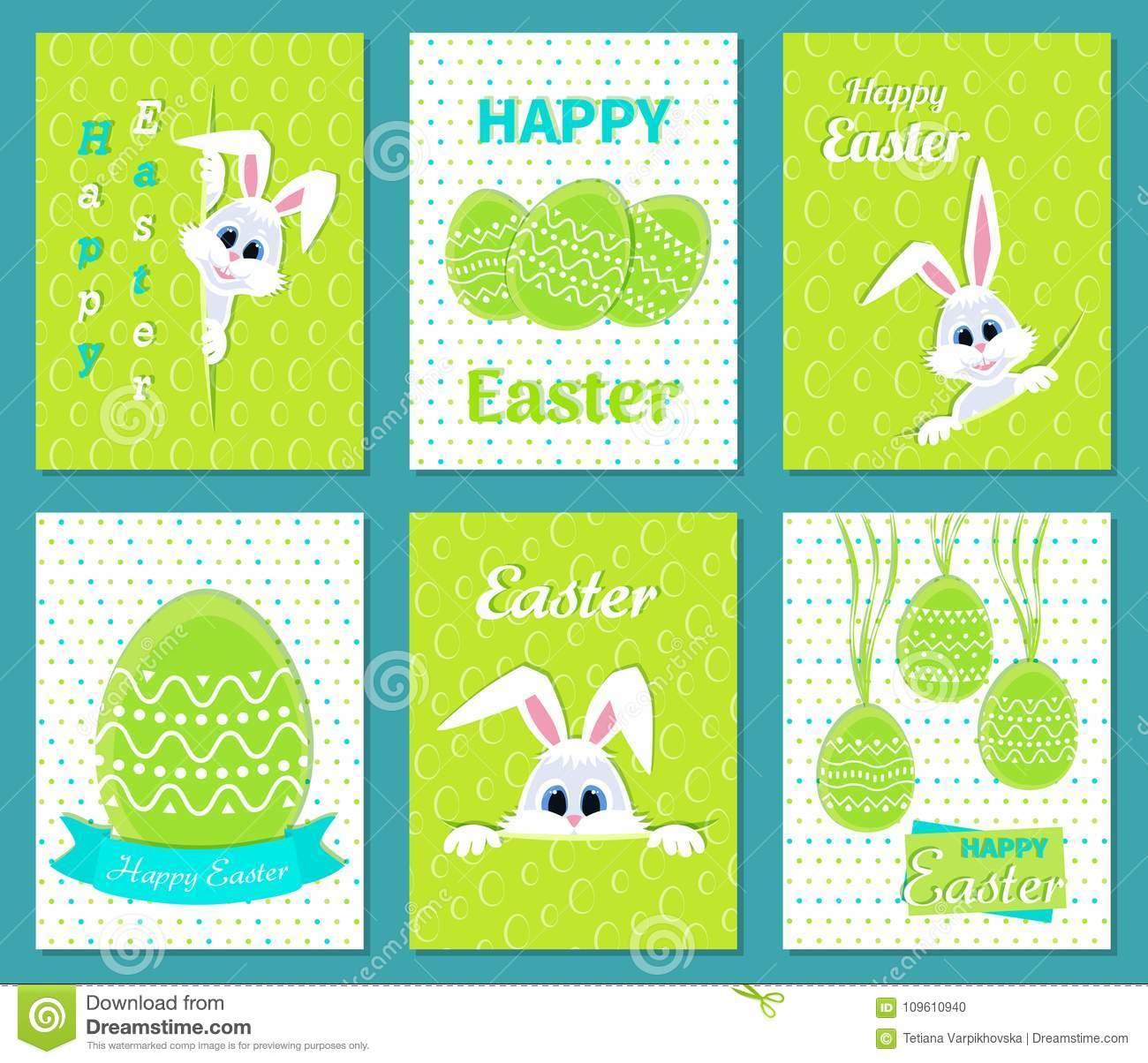 Set Of Happy Easter Greeting Cards White Cute Easter Bunny Peeking