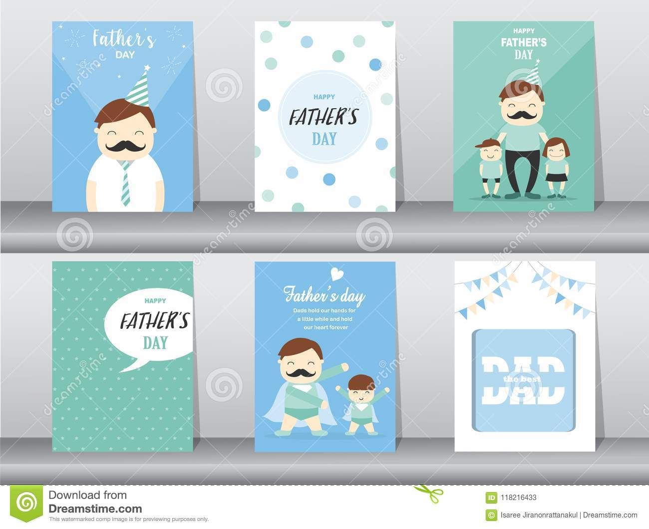 Set Of Happy Fathers Day Card Postertemplategreeting Cards