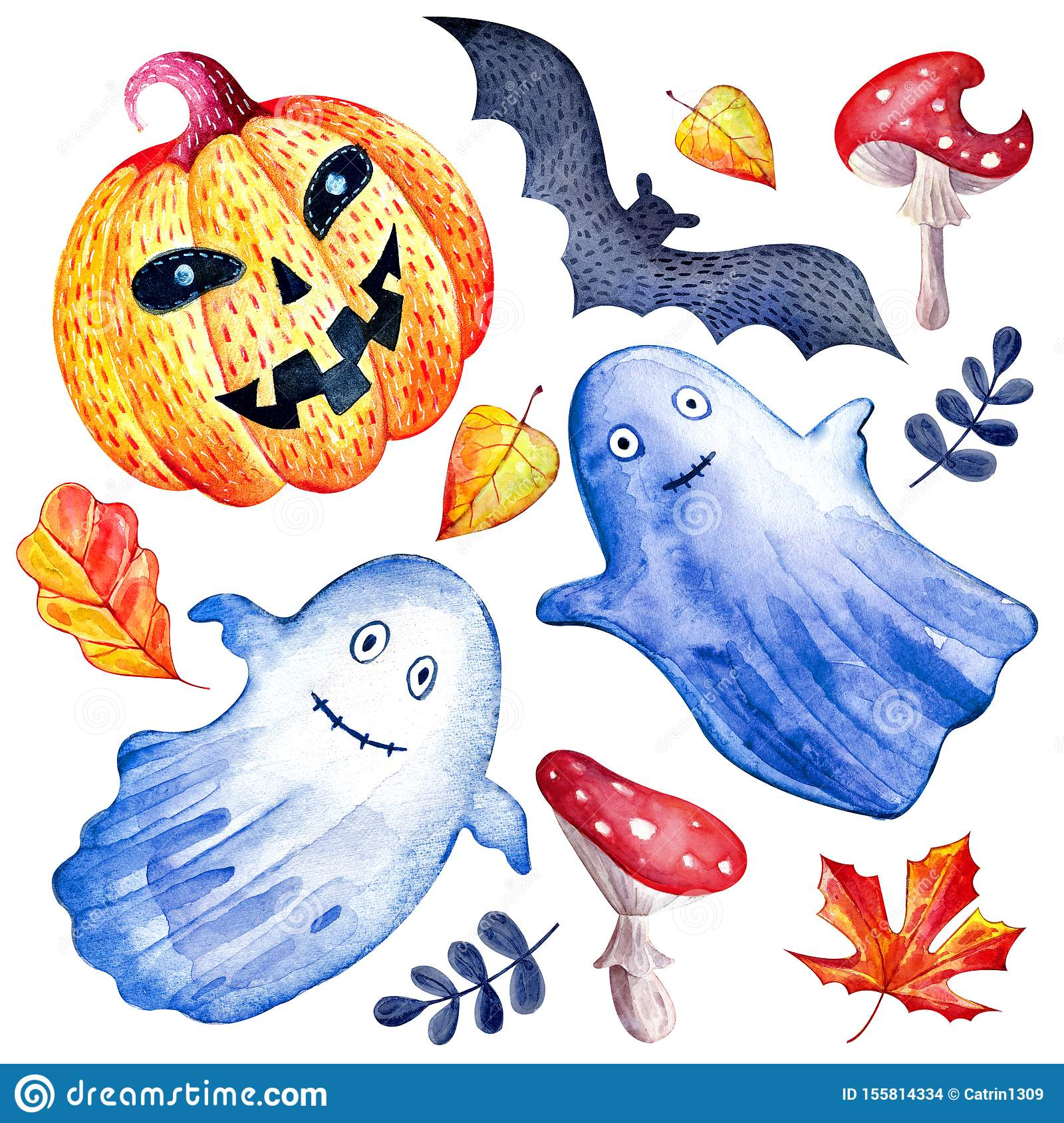 Set Of Happy Halloween Watercolor On White Background