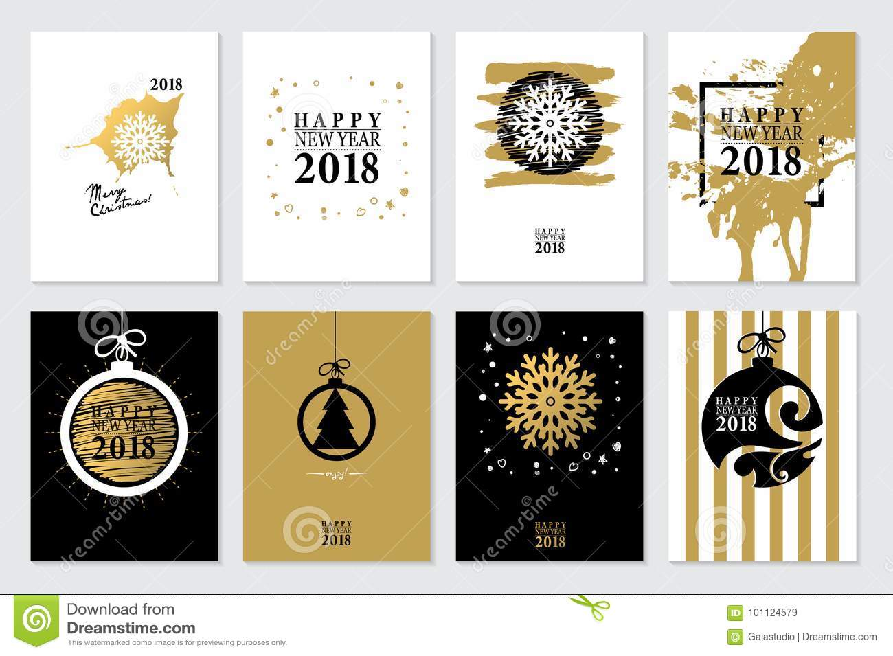 2018 set of happy new year card or background