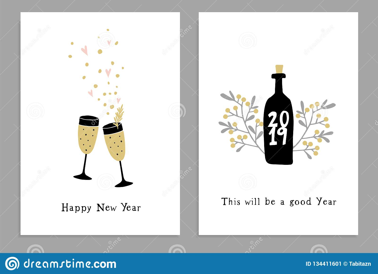 Set of Happy New Year greeting cards, party invitations with hand drawn wine glasses, bottle and confetti stars