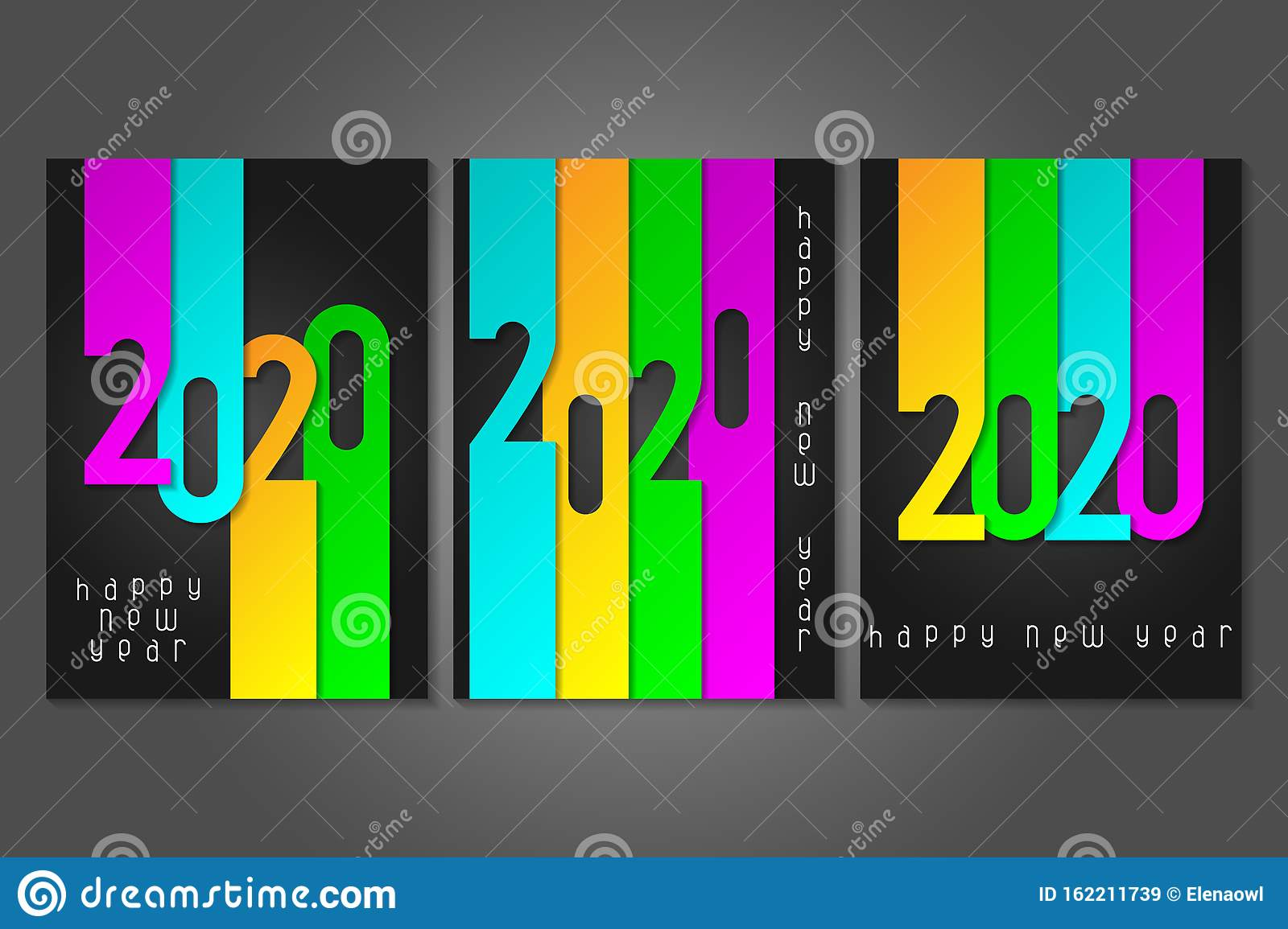 Set of Happy New Year 2020 posters with numbers cut out of colored paper. Winter holidays greeting or invitation.