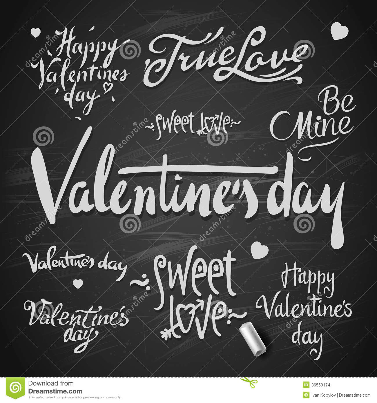 Set Of Happy Valentine S Day Hand Lettering Stock Vector
