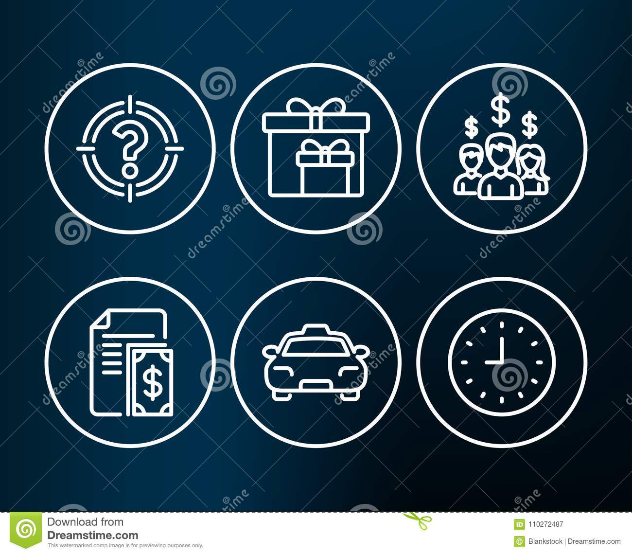 Salary Employees Taxi And Clock Signs Aim With Question Mark Birthday Gifts Cash Money People Earnings Passengers Transport Time Or Watch