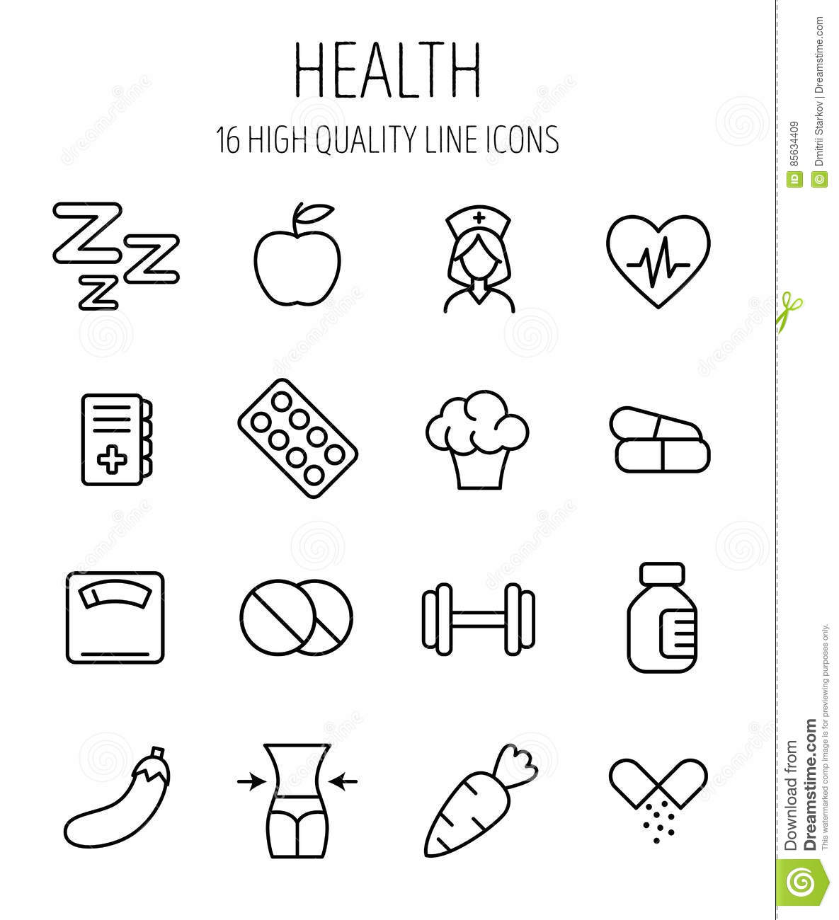 Set Of Health Icons In Modern Thin Line Style Stock Vector