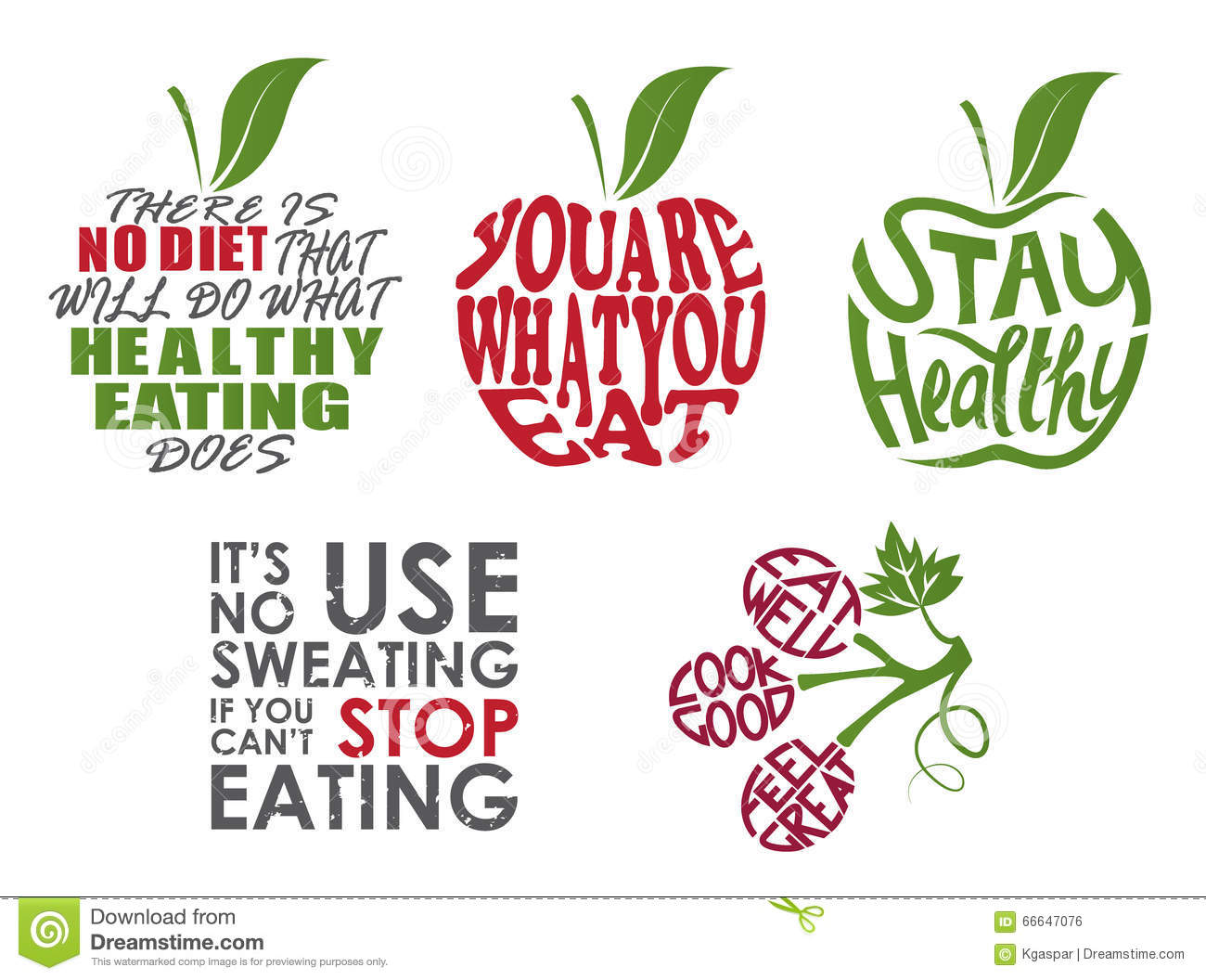 Set of health quotes stock vector. Illustration of ...
