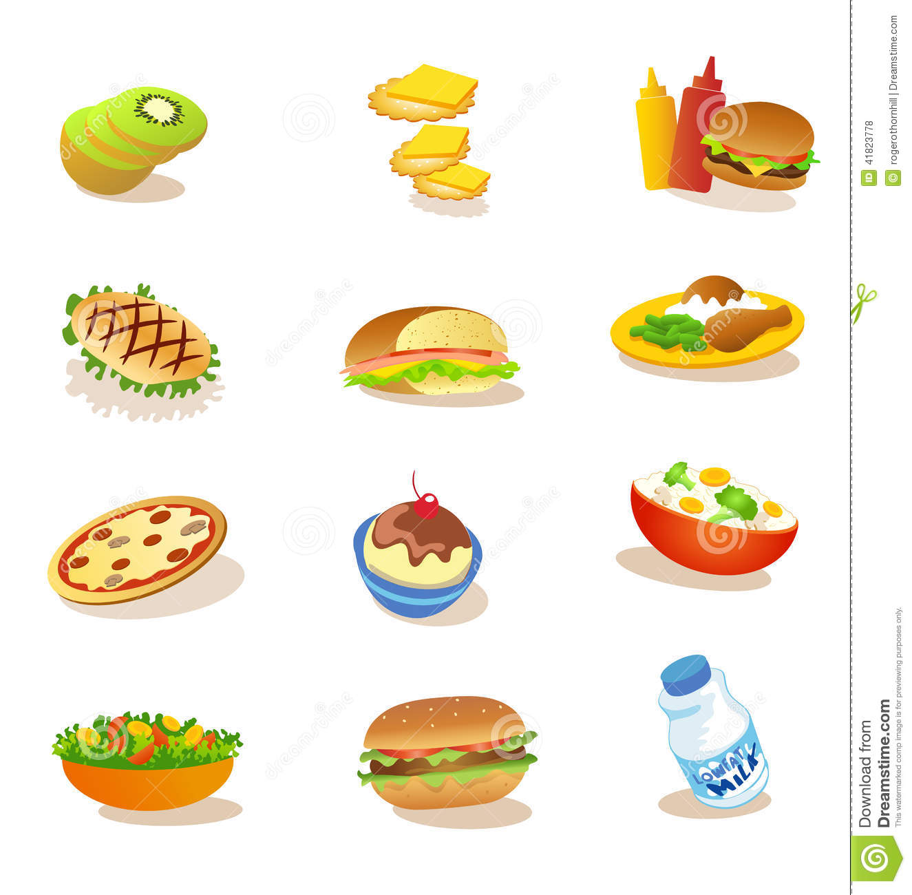 Stock Illustration Set Healthy Food Illustrations Lunch Dinner Image41823778 on Stock Vector Illustration Food Pyramid For Kids Cartoon