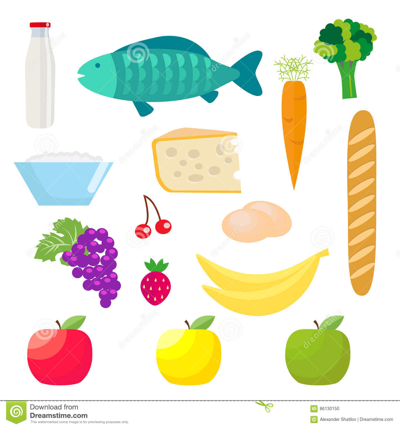 Set Of Healthy Food Products Fish And Dairy Products