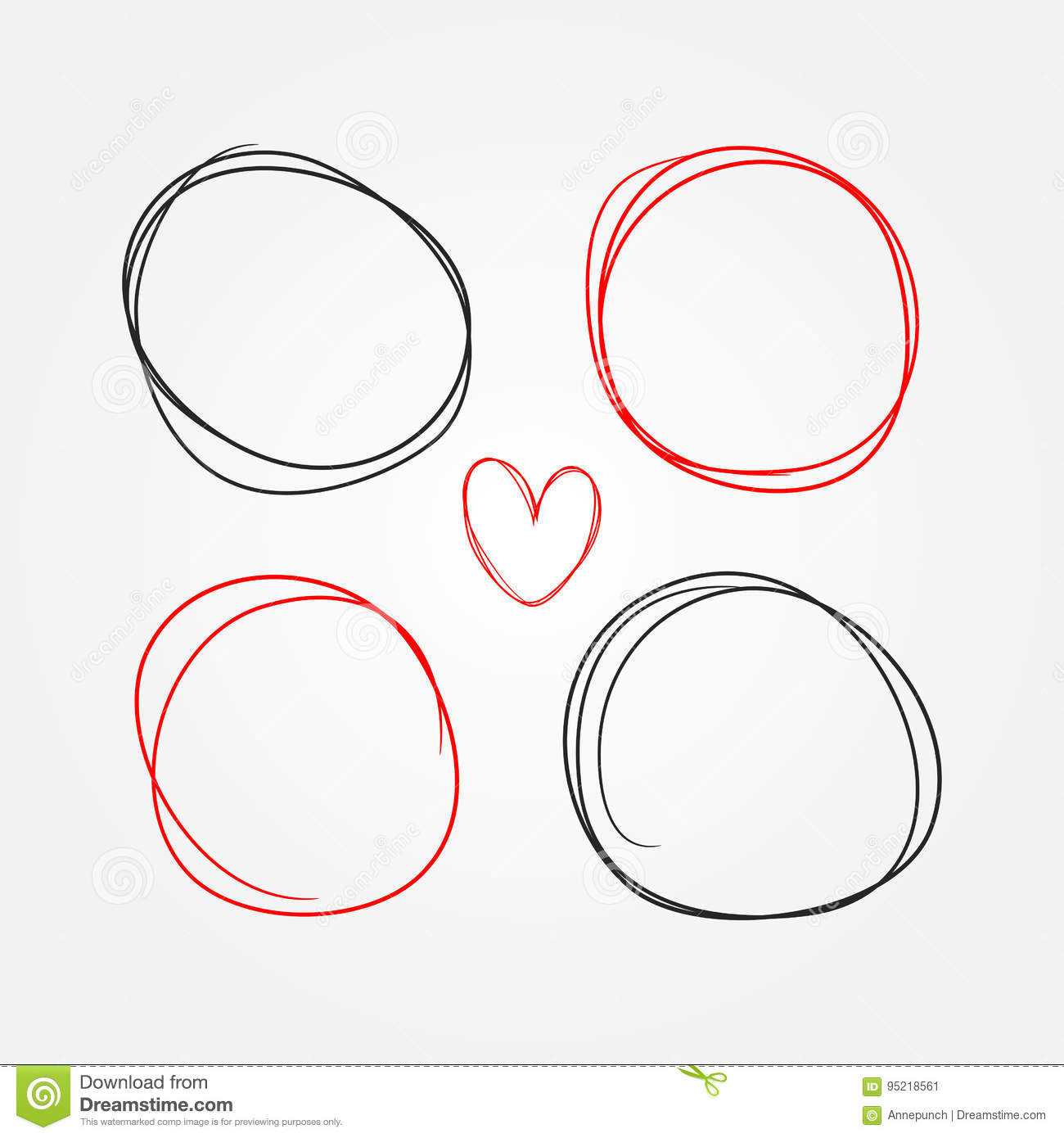 Set of heart and round frames painted by hand. Sketch, doodle, scribble.