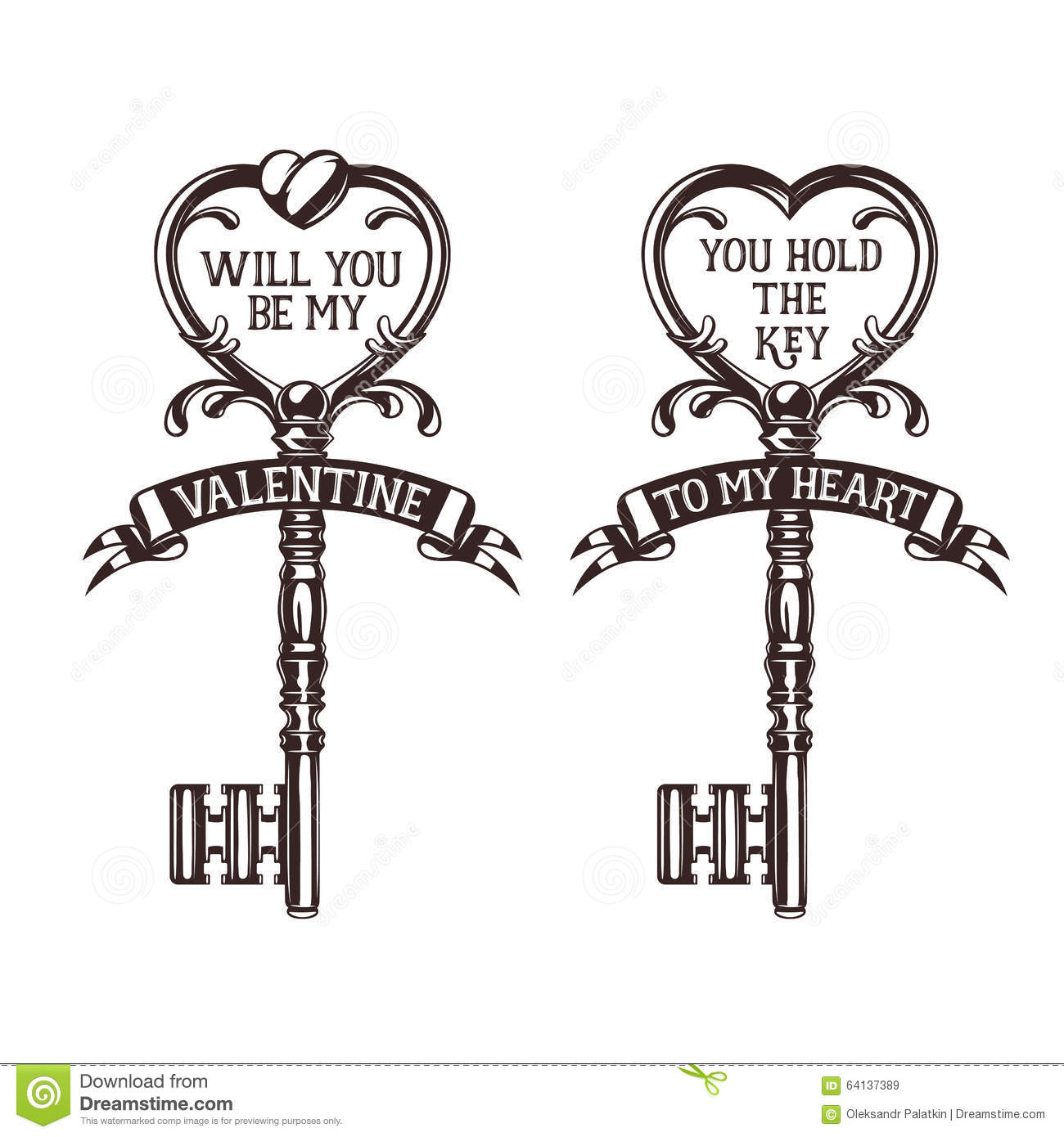 Set Of Heart Shaped Keys With Quotes Related To Stock Vector