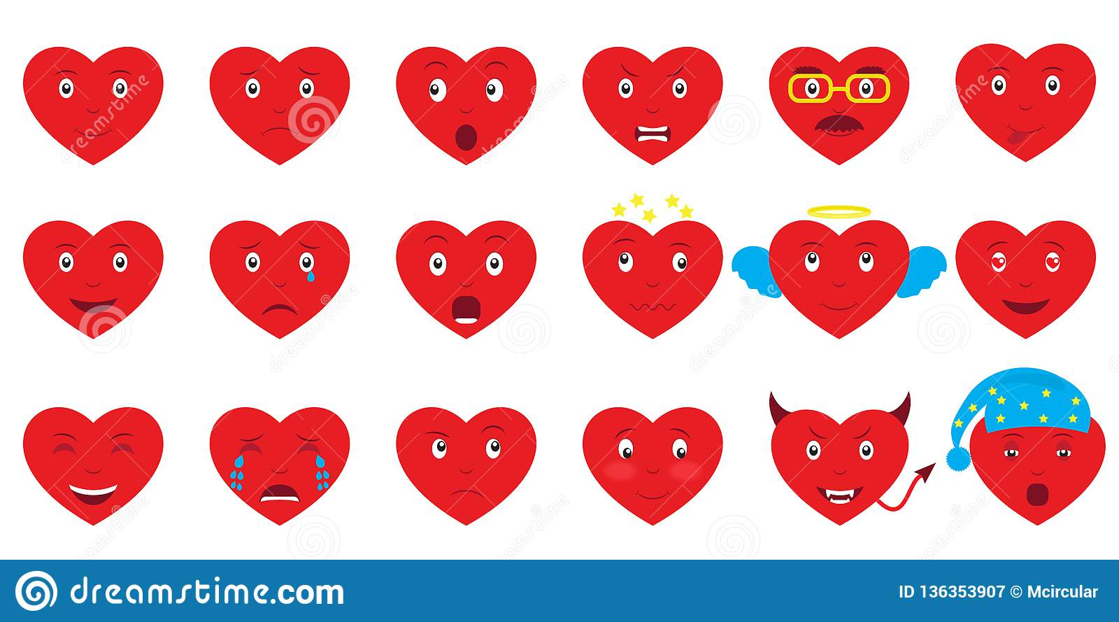 Set of 18 hearts emoji. Design elements for Valentines Day
