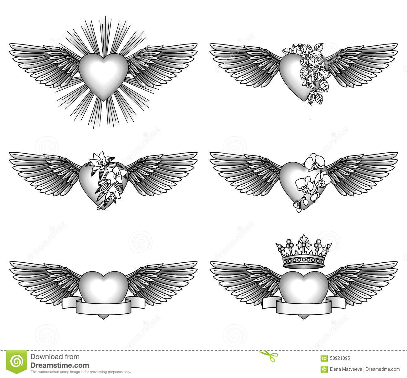 Set Hearts And Wings Stock Vector Image 58921095