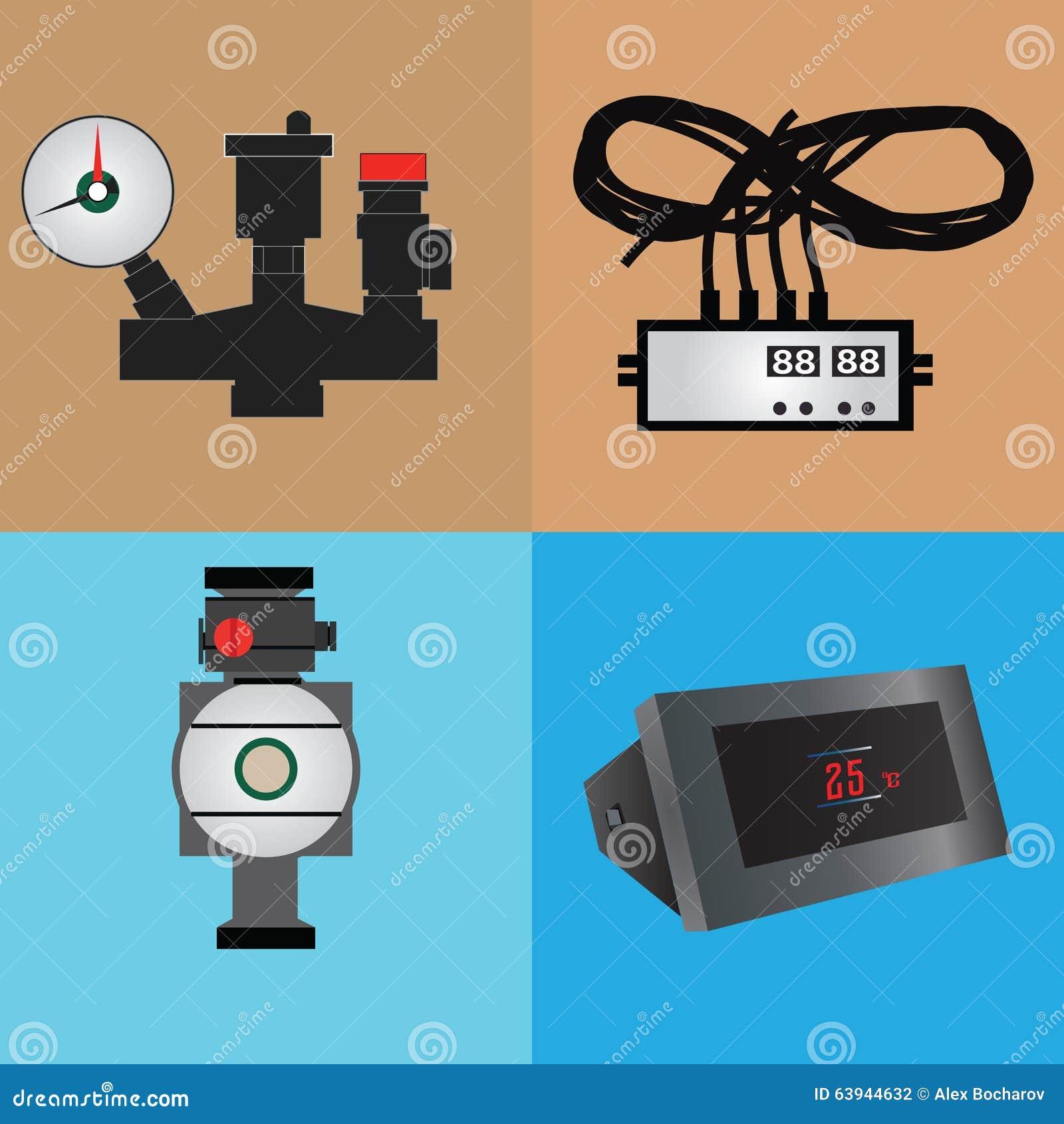 Set for heating stock vector. Illustration of house, equipment ...